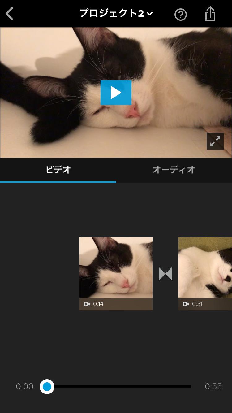 ビデオ編集画面